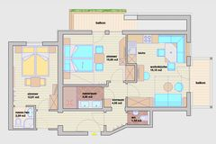 Grundriss Familiensuite Enzian mit Doppelzimmer Standard