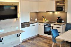 Einbauküche des Apartment Enzian mit Hochschrank, Spülmaschine, Spülbecken, Herd und Backofen