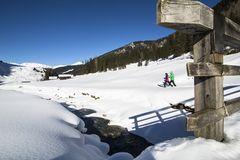 Blick auf ein Paar beim Schneeschuhwandern inmitten einer verschneiten Landschaft bei strahlendem Sonnenschein