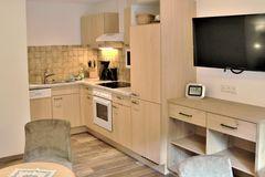 Einbauküche im Apartment Edelweiss mit Hochschrank, Spülbecken, Spülmaschine, Herd und Backofen